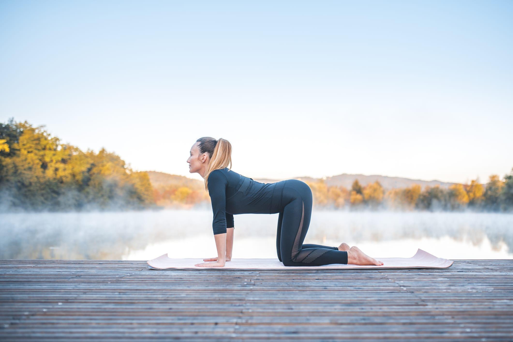 Pose de yoga - pose de vache (bitilasana